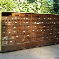 Vintage Wood Hardware Store Cabinet / 136 Drawers /AS IS / Distressed  / Industrial cabinet