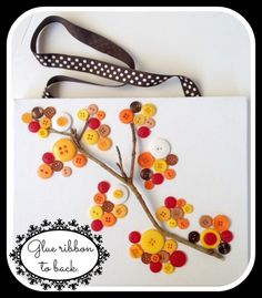 DIY Tree Button Branch Canvas. Great for your fall and Thanksgiving decor, a hostess gift for Thanksgiving day. Use as a wall hanging or mantle art.