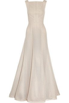 Elie Saab Striped honeycomb-mesh and brushed-satin gown | NET-A-PORTER