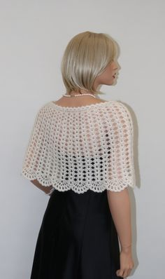 KNIT TO ORDER. Ivory colour Shrug, Mohair Womens Shawl - Wrap - Poncho - Shrug, This Shawl - Wrap - Poncho measurements: Length - about 35 cm / 14 inches. Width - double about 62 cm / 24.5 inches. Weight - about 120 g. Colour - Ivory. Knitting yarn - 52 % Mohair, 48 % Cashmire, very
