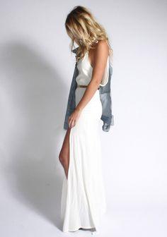 White. Maxi. Day Dress. Long Dress. Loose. Belted. Spring Dress. Sleeveless. Tank Neck.