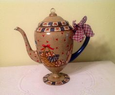 Gingerbread Up Cycled Tea Coffee Pot Vintage. by CraftsByJoyice