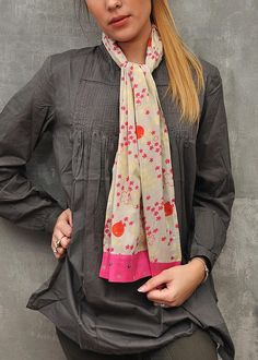 Enjoy this chic look with the Folia Print Scarf by Heritage Lace! #cotton #French #modern