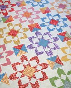 Tied with a Ribbon: 1930's Reproduction Fabrics Fireworks Quilt