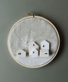 ASSEMBLEtiny wooden houses on linen hoop by thepapercutboutique, $19.95