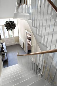 Stairs painted diy (Stairs ideas) Tags: How to Paint Stairs, Stairs painted art, painted stairs ideas, painted stairs ideas staircase makeover Stairs+painted+diy+staircase+makeover Hallway Inspiration, Interior Design Inspiration, Hallway Ideas, White Stairs, Diy Flooring, Hall Flooring, Slate Flooring, Staircase Makeover, Foyer Decorating