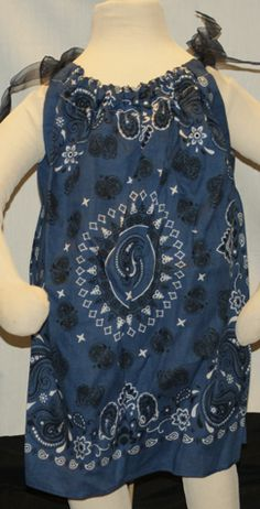 """A cute little bandana dress with ribbon shoulder ties.  Fits sizes 2T-4T. Length 20"""""""