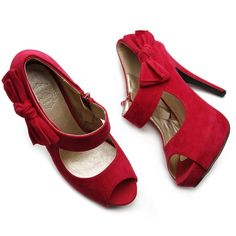 """Ollio Faux Suede Peep Toe Bow Strap Red Heels Sz 8 Lovely red peep toes with 5"""" heel and 1"""" to 1.4"""" hidden platform. These run true to size and are comfortable and easy to walk in for heels (I have them in black but red shoes just aren't for me). New & unworn, except trying on indoors so the sole just has some carpet fuzz. Very slight toe marks inside, barely noticeable, because the suede is pretty sensitive to that. Otherwise they are new condition. Comes with all packaging, padding, and…"""