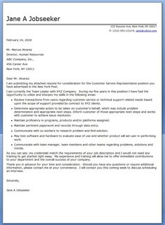 experienced customer service rep cover letter templates - Cover Letter Resumes