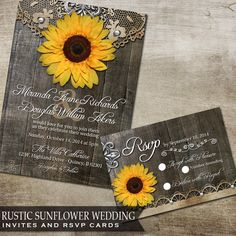 Sunflower Wedding Invitation Set, Rustic Wedding Invitation, Yellow Sunflower Wedding Invite, DIY Rustic Sunflower Wedding Invitation Set by OddLotPaperie on Etsy https://www.etsy.com/listing/185144756/sunflower-wedding-invitation-set-rustic