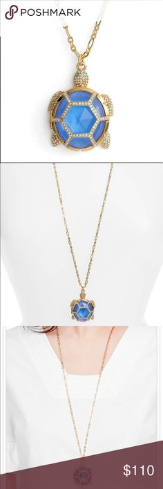 "Kate Spade ♠️ Gold Paradise faceted Turtle Pendant This 12kt plated 32"" chain with beautiful aqua blue  stones is simply stunning I also have the matching ring if you scroll my closet both brand new w Tags Retails over 150+tax trade value 150 kate spade Jewelry"