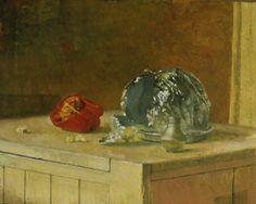 L. Anderson  Still life with corn popper, cruet and apples