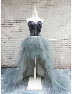 Formal+Evening+Dress+Ball+Gown+Sweetheart+Chapel+Train+Satin+/+Tulle+with+Feathers+/+Fur+–+USD+$+159.99