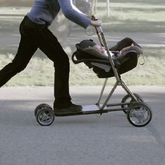 Custom made scooter skateboarding, baby stroller carriage,  dad father takes baby out for ride,  Vroom, Zoom zoom, March 2015