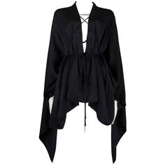 Preowned Gucci By Tom Ford Black Silk Evening Lace Up Poncho Blouse,... (116,620 PHP) ❤ liked on Polyvore featuring tops, blouses, shirts, dresses, black, poncho shirt, special occasion blouses, cuff shirts, lace-up tops and evening blouses