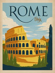 Rome, Italy Colosseum vintage travel poster