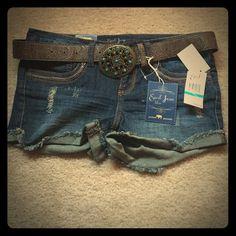 Earl Jeans. Jean shorts with belt Earl blue Jean denim shorts with belt. Belt is brown with turquoise filigree belt buckle. Size 5. NWT Earl blue Jean  Shorts Jean Shorts