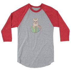 Cream Frenchie and Easter chick on a coloful Easter egg 3/4 sleeve raglan shirt