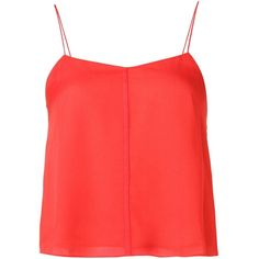 T By Alexander Wang Layered Cami Top (€120) ❤ liked on Polyvore featuring tops, red, tank tops, red camisole, silk tank, layering tank tops, cami tank and silk camisole top