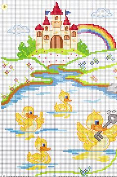 Cross Stitch Fairy, Counted Cross Stitch Patterns, Cross Stitch Designs, Cross Stitch Embroidery, Baby Canvas, Kids Patterns, Cross Stitch Animals, Square Quilt, Cross Stitching