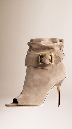 Burberry Dark heather melange Buckle Detail Suede Peep-Toe Ankle Boots - Supple and slouchy suede ankle boots with a peep toe Wraparound belt with a horn-look buckle detail. Discover the shoes collection at Burberry.com