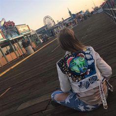 Hand painted jacket, biker jacket,  ramones jacket, custom leather jacket