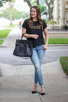 Black #ootd Gold Foil Tee - A must-have tee for fashion girls! This super soft, stylish tee will become an instant favorite in your wardrobe.