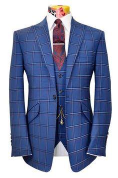 The Ashmore Persian Blue Suit with Indigo, Orange & Cornflower Overcheck
