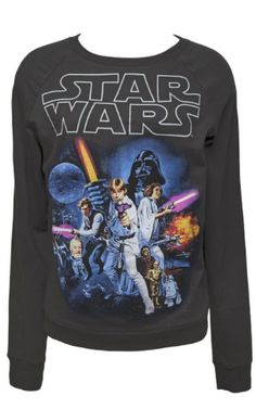 Star Wars Gifts for Her:  Mighty Fine Star Wars Logo Poster Pullover Sweatshirt @ Amazon