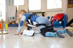 The Krabat Pilot is a technical aid that supports a child on their hands and knees. This position is the pre-stage to crawling and moving around. The Pilot assists the child up from the floor which helps to stimulate participation and play. Weight bearing through the hips and shoulder is very important for the child motor learning.