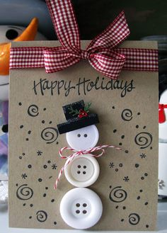 20 Amazing handmade Christmas cards that your friends and family will love! These handmade christmas cards are the perfect Christmas gift! Christmas Card Crafts, Homemade Christmas Cards, Christmas Cards To Make, Handmade Christmas, Homemade Cards, Holiday Crafts, Christmas Decorations, Christmas Ornaments, Christmas Snowman