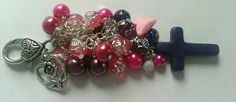 Purple and pink beaded bag charm purse charm  key by Thejewelden
