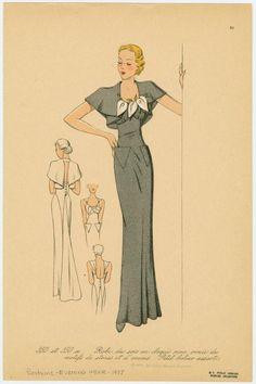 Robe du soir en cloqué noir, ornée de motifs de strass et d'arums.Love the details on the back skirt