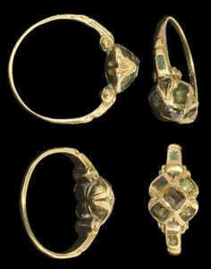Elizabethan Gold, Emerald and Black Diamond Ring, late 16th century A.D.