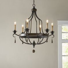 Birch Lane™ Heritage Diann 12 - Light Candle Style Empire Chandelier with Beaded Accents Farmhouse Chandelier, Rustic Chandelier, Chandelier Lighting, Rustic Lighting, Iron Chandeliers, Farmhouse Lighting, Style Empire, Empire Chandelier, Wagon Wheel Chandelier