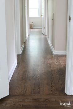 Refinished Hardwood Floors with Dark Walnut Stain and Satin Poly Finish - Holz Hardwood Floor Stain Colors, Living Room Hardwood Floors, Old Wood Floors, Refinishing Hardwood Floors, Kitchen With Hardwood Floors, Dark Wood Floors Living Room, Bedroom Wood Floor, Wood Floor Finishes, Diy Hardwood Floor