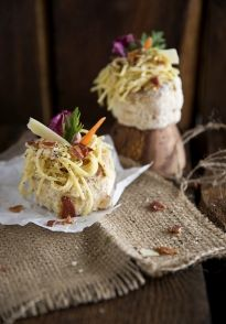 Creamy Bacon Carbonara Pasta in Parmesan Puff Pastry Shells