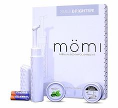 Momi Premium Professional Strength Tooth Whitening and Polishing System - Mint Flavor by Momi Whitening Polishing Kit, Charcoal Teeth Whitening, Whitening Kit, Tartar Removal, Tooth Powder, Step By Step Instructions, Health And Beauty