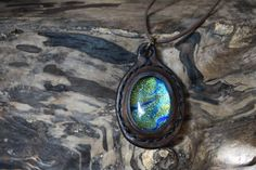 Leather Pendant Sapphire Glass Bead Hippie Wear by LeatherVision