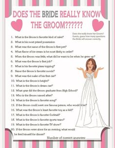 Does the Bride really know the Groom Bridal Shower Game 3732e9bd55