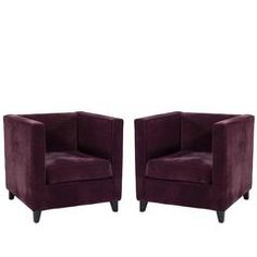 Pair of Cube Lounge Chairs in Plush Purple Velvet