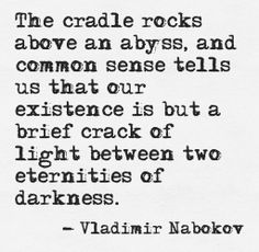 """our existence is but a brief crack of light between two eternities of darkness"" -Vladimir Nabokov"