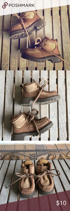 Toddler Boys Brown Tan Leather Rugged Boots Toddler Boys Brown Tan Leather Rugged Boots. Great condition. These have been worn a couple of times. These are very durable and so comfy. Just like daddy's! Suede leather uppers with rubber soles. GAP Shoes Boots