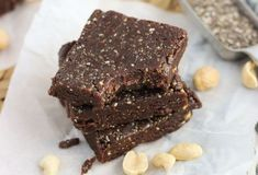Chocolate Peanut Butter Chia Bars are a healthy no-bake snack. They're easy to make vegan and naturally sweetened. Vegan Breakfast Recipes, Raw Food Recipes, Baking Recipes, Snack Recipes, Dessert Recipes, Dessert Ideas, Breakfast Ideas, Healthy Recipes, I Want Chocolate