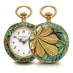 LADY'S RARE 18K YELLOW GOLD AND CLOISONNÉ ENAMEL OPEN-FACED PENDANT WATCH 1896