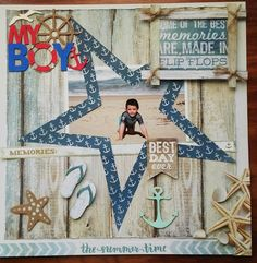 Photo of my DS Nathan many years ago on the beach of Plettenberg Bay (South Africa) Other products used: Chipboard Dala Craft Paint (Red and Blue) My Scrapbook, My Memory, Best Day Ever, Scrapbooking Layouts, My Boys, Red And Blue, Diy Crafts, Memories, Beach