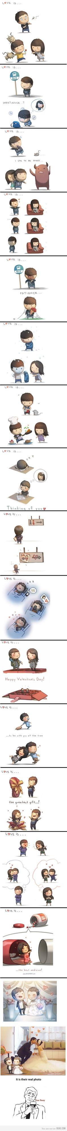 Love is. from HJ story (the artist draws these for his wife)Love is. from HJ story (the artist draws these for his wife) Hj Story, Love Story, Cute Comics, Funny Comics, Images Kawaii, Online Comics, Comics Story, Cute Stories, What Is Love