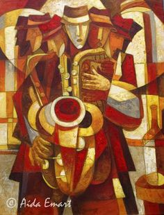 A man playing the trumpet done in the cubist style.