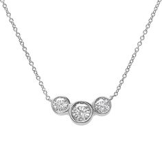 Three stone diamond necklace in 18k white gold 1 ct tw idea to remake tehs ring into a bezel set three stone diamond necklace aloadofball Choice Image