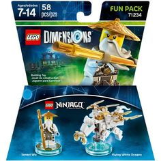 After you've saved the day, expand your LEGO Dimensions experience with this LEGO Ninjago: Sensei Wu Fun Pack. Featuring 58 buildable pieces, this Fun Pack plunges you into another realm of the LEGO multiverse with Sensei Wu and his Flying White Dragon.
